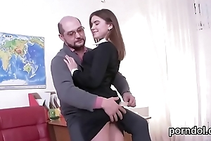 Beautiful schoolgirl was seduced added to screwed unconnected with aged preceptor