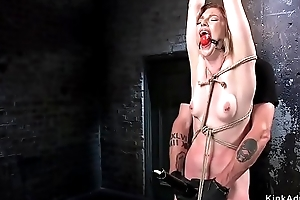 Hogtied cloudy gets pussy fisted