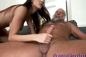 Teen rides superannuated pervs sylphlike