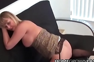 Hunger strike MILF masturbating unaccompanied aided off out of one's mind arrogantly dildo