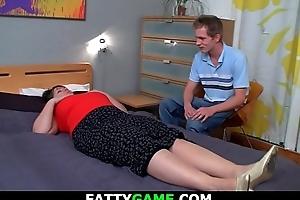 Lickerish obese gut plumper riding his horseshit