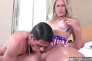 Leader tow-headed Brazilian tgirl Bella Trix bareback anal rides