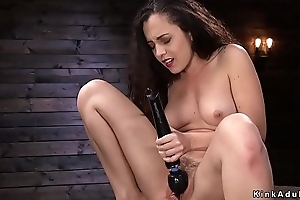 Brunette drumming plus screwing gadget
