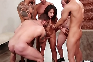 Gangbang increased by anal going to bed on every side bdsm orgy