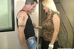Hot breasty milf jerks off a elder pauper
