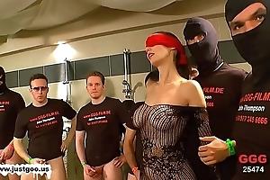 German prom �lite gals - blindfolded milf bukkake group-sex