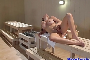 Poof sauna threeway thither breasty alena croft