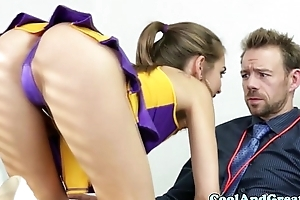 Cheerleader riley reid tastes coaches hoof it flower