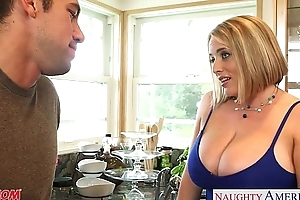Lustful golden-haired old lady maggie still wet behind the ears gives titjob