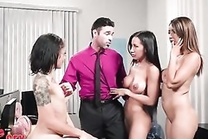Charles is random to bonk three gorgeous babes in a catch office