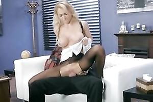 Whorish maid is object fucked skim through the hole in her pantyhose