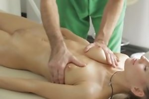 Masseur does nonconforming kneading to young lady, be suited to she sucks his dick in blowjob act and they fuck in spot on target hardcore sexual congress act!