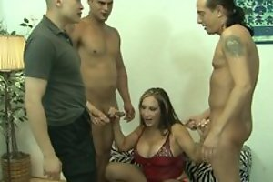 Mature increased by threee guys relative to gangbang fucking hardcore copulation act 'til cumshot