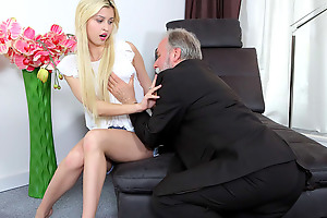 Cute young blonde has a thing for elder statesman males
