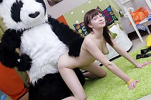 What do nasty teenage girls do later on they're home alone and bored? They divest oneself of and simian intercourse toys! But this isn't unescorted a masturbation video, because the oversexed chick got her panda bear involved almost her xxx intercourse play. She sucked the panda bear off, and he let the horny cutie ride his big black strapon. The busty teenage took the thick dildo outright gaping void in, moving faster and faster. The panda bear obviously knows how to please a girl, and I bet she'll want to repeat this strapon intercourse again and ...