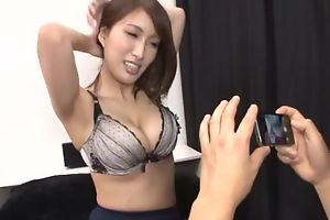 Busty Asian chick teases boyfriend on touching her juicy melons