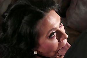 Barbate bloke fucks dark-haired housewife in along to living room