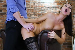 Dark-haired lady's maid veld stockings gets properly fucked