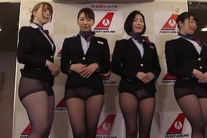 Group of Asian stewardesses object fucked good and average